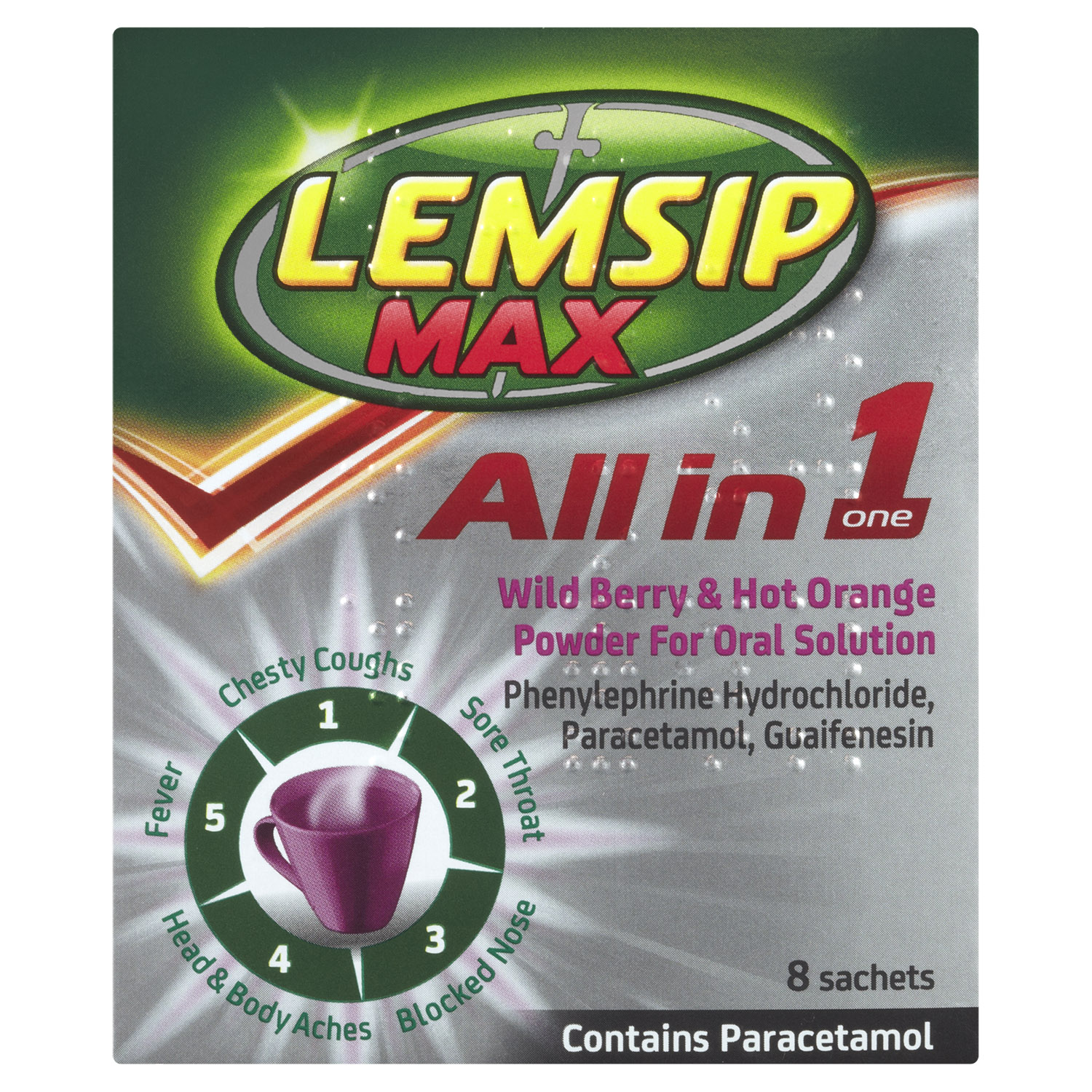 Lemsip Max All in One Cold + Flu Berry & Orange Hot Drink 8s