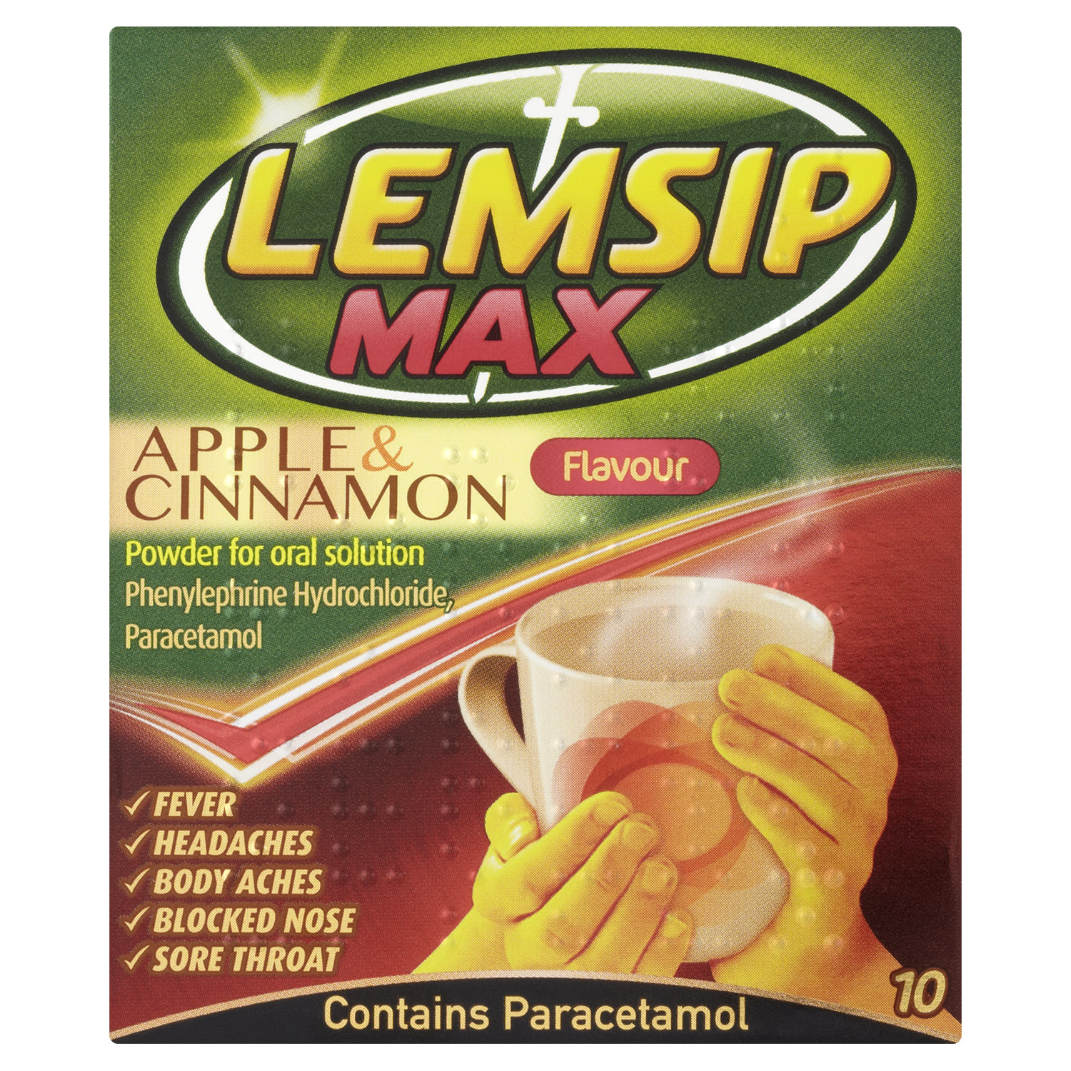 Lemsip Max Cold + Flu Apple & Cinnamon Hot Drink 10s
