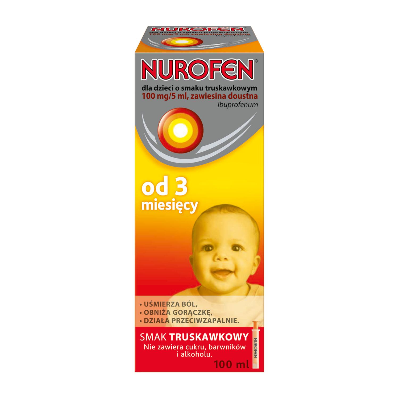 Nurofen dla dzieci o smaku truskawkowym (Ibuprofen 100 mg / 5 ml)