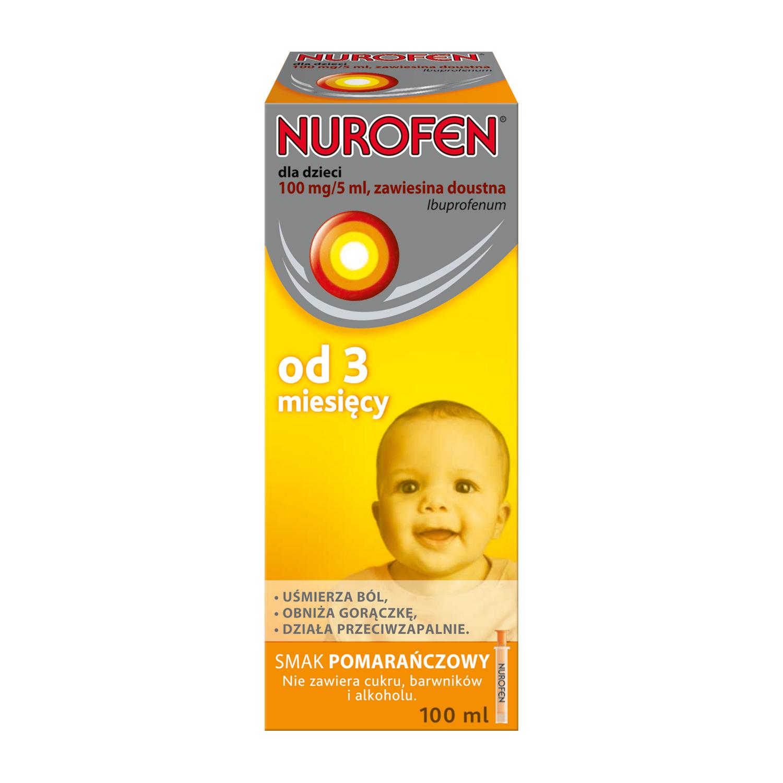 Nurofen dla dzieci o smaku pomarańczowym (Ibuprofen 100 mg / 5 ml)