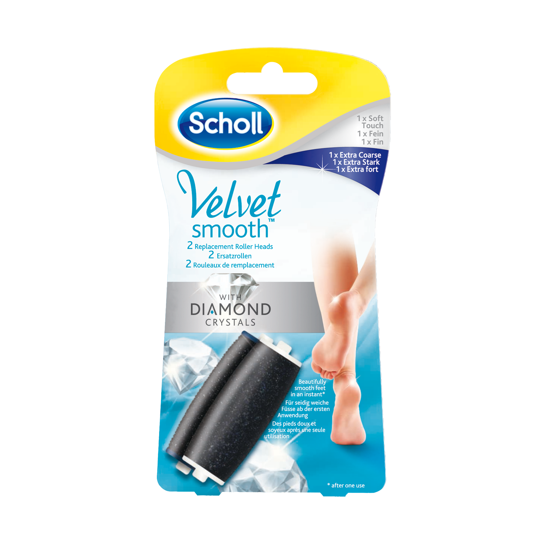 Scholl Velvet Smooth™ Rouleaux de remplacement Extra Fort et Fin pour râpe anti-callosités aux cristaux de diamant