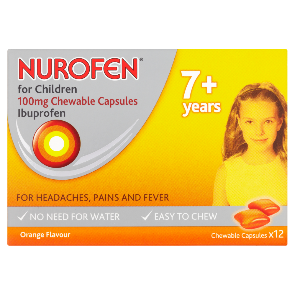 NUROFEN FOR CHILDREN 100MG CHEWABLE CAPSULES IBUPROFEN