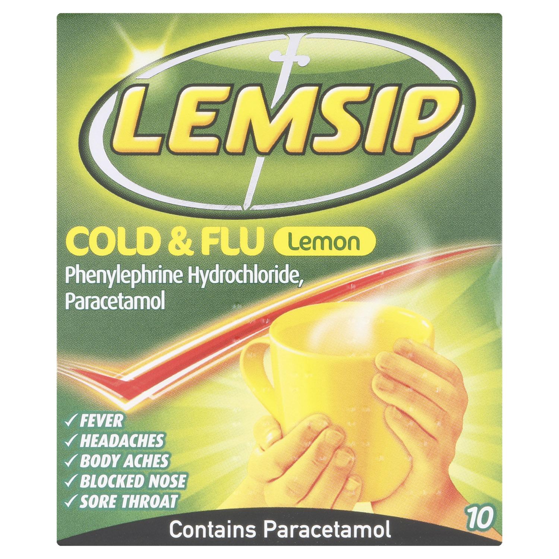 Lemsip Cold + Flu Lemon Hot Drink 10s