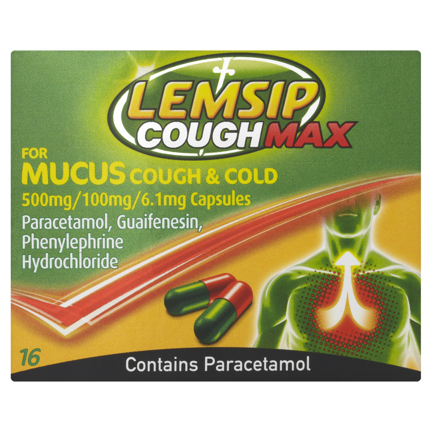 Lemsip Cough Max Mucus Cough + Cold Capsules 16s